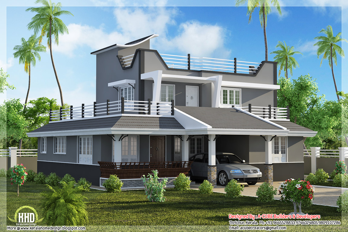 Contemporary style 3 bedroom home plan kerala home for Modern indian house plans
