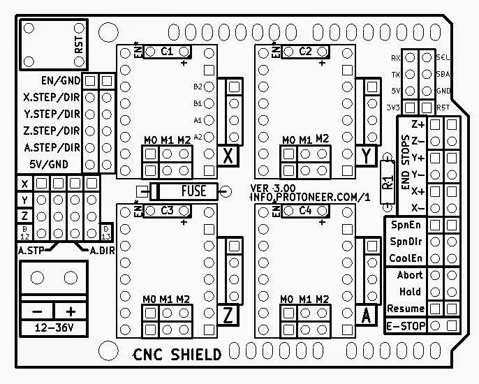 my arduino 2d plotter  06  plugging protoneer cnc shield