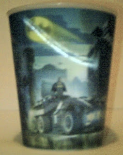 Lego Movie Happy Meal cup #3 featuring Batman on Batmobile