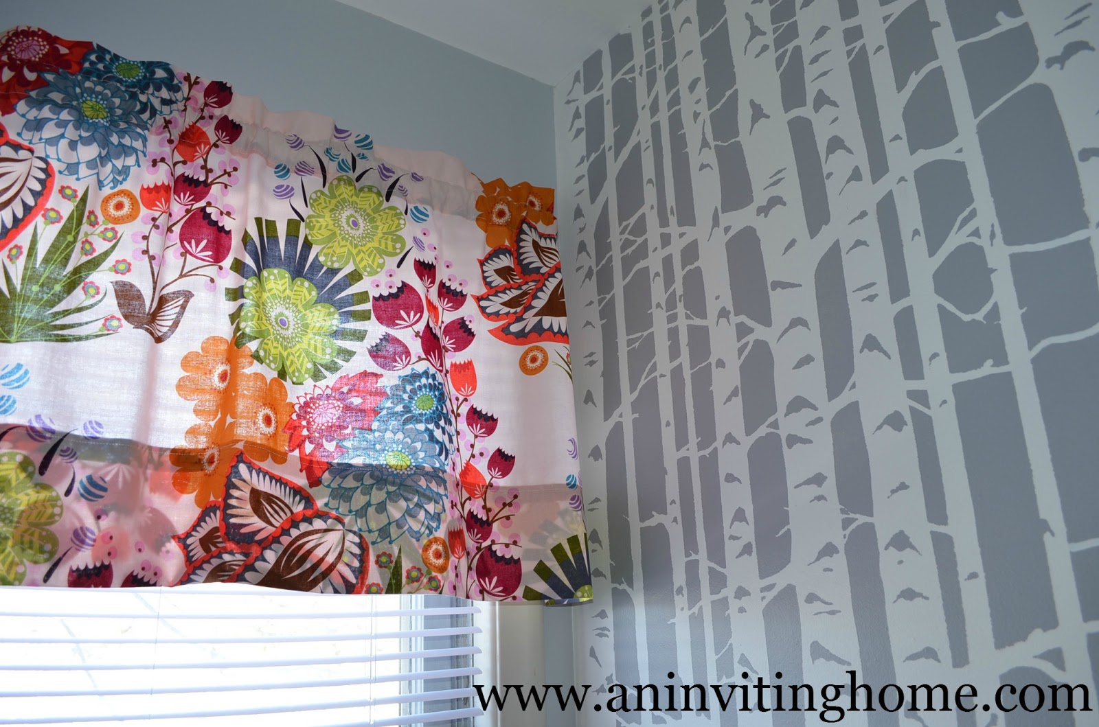 colorful mix with birch tree stencil