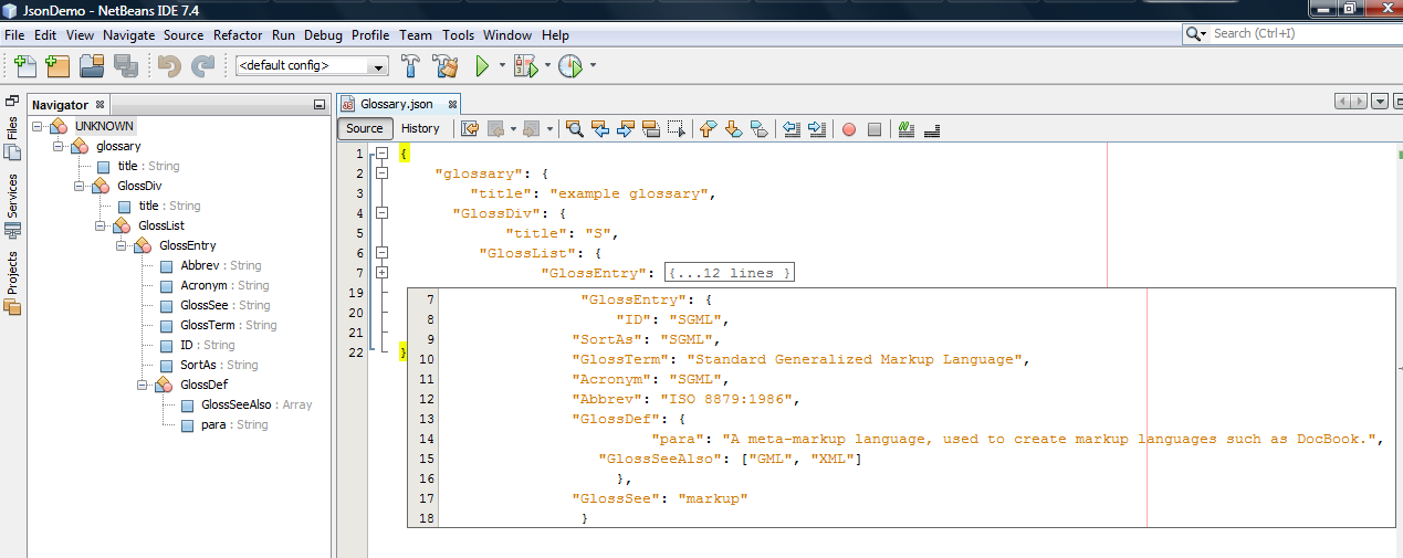 even though proper indenting can go along way toward making json more readable the visual cues provided by the navigator window in netbeans 74 make it