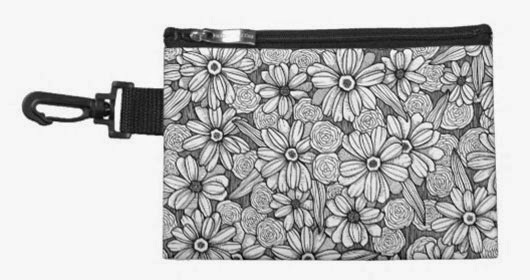 www.zazzle.com/black_white_zinnia_floral_accessory_bag-223883754197549924?rf=238299512841520505