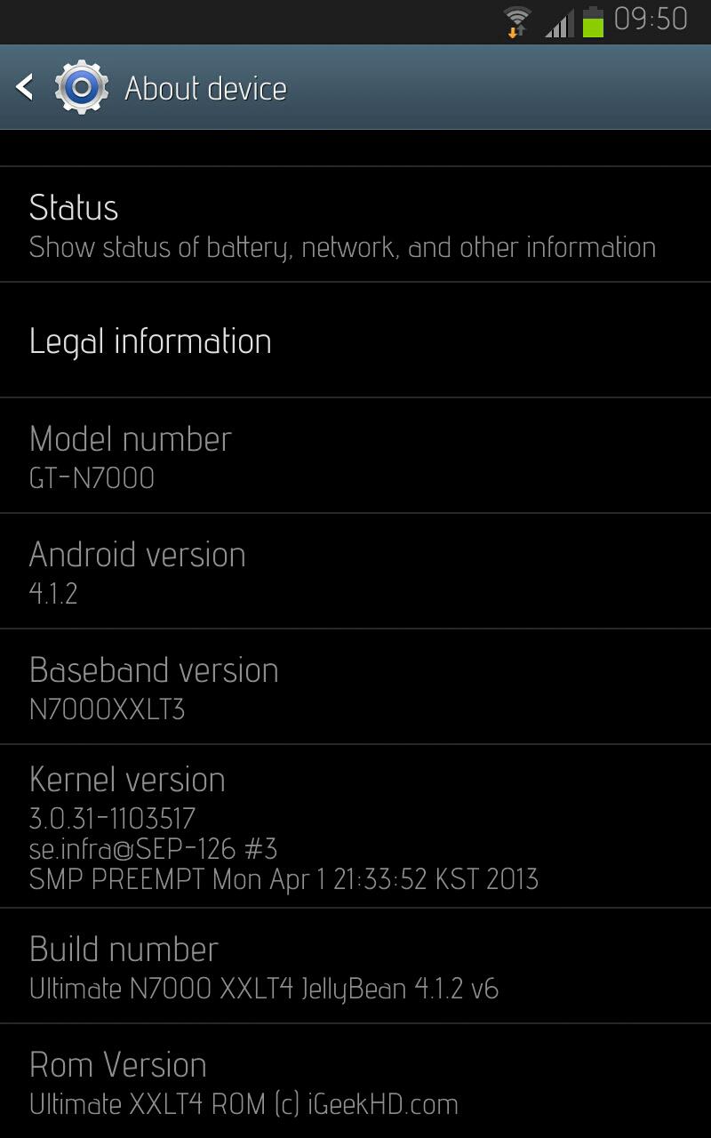 Galaxy Note N7000 Jelly Bean 4.1.2