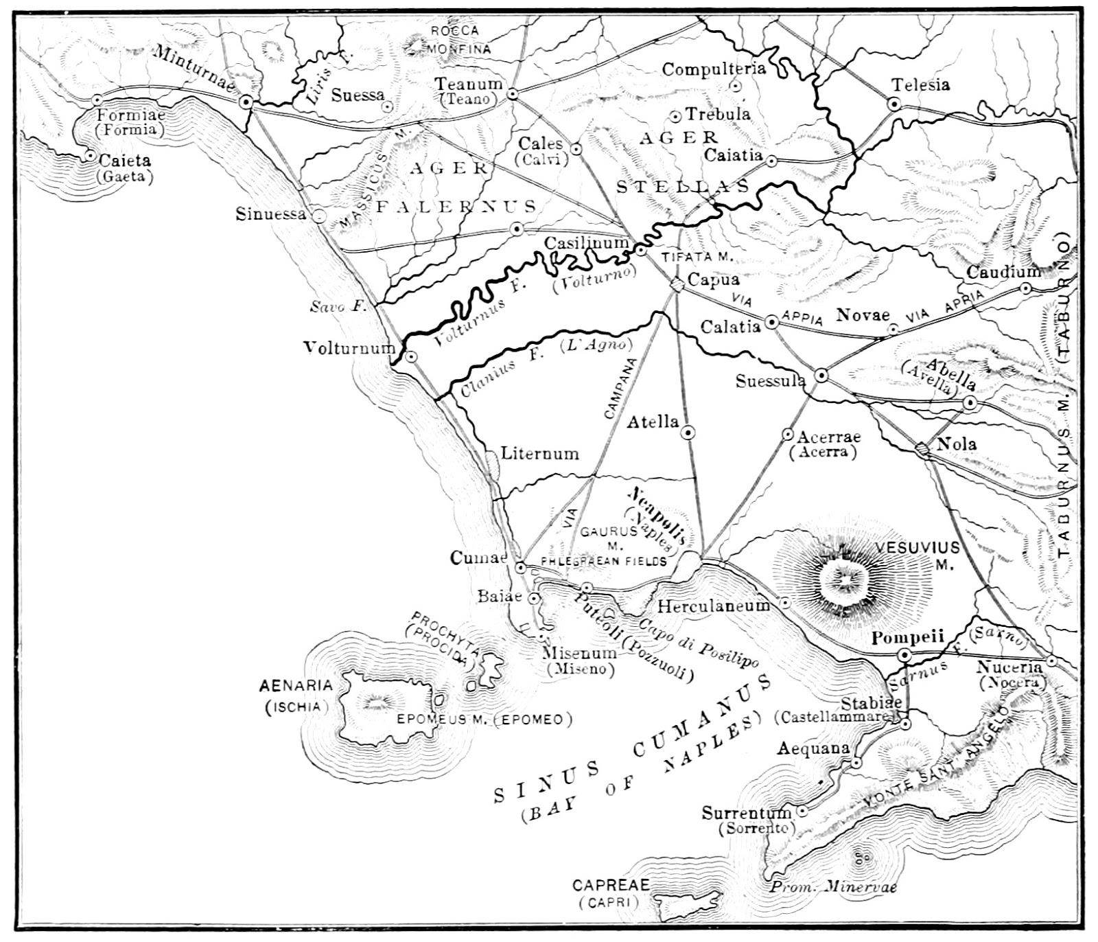 Mappa della Campania al termine del III sec. a.C.