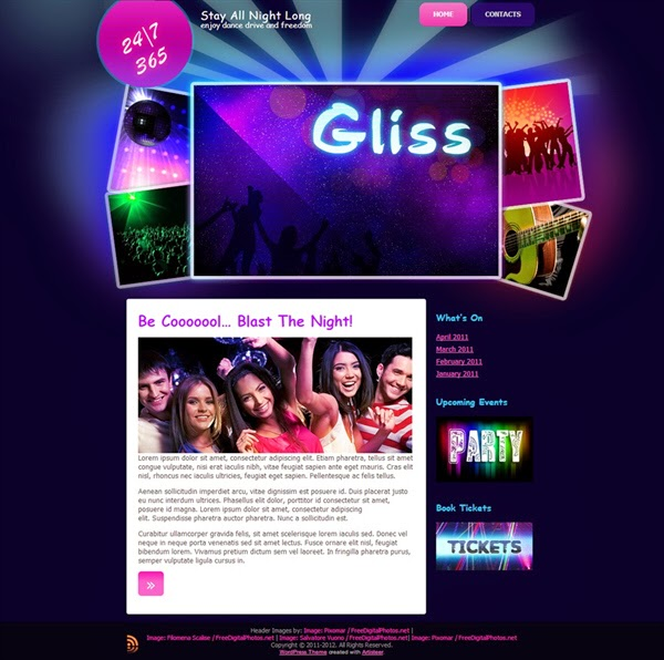 Gliss Nightclub - Free Wordpress Theme