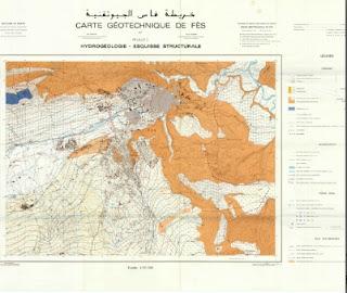 Carte Géotechnique de Fès (Hydrogéologie, Esquisse structurale)  الخريطة الجيوتقنية لفاس (الهيدروجيولوجيا والبنيوية)