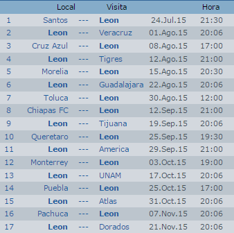 Calendario Leon Apertura 2015 Futbol Mexicano