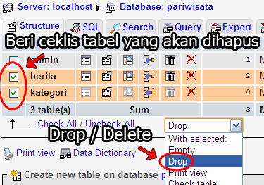 how to delete a table phpmyadmin