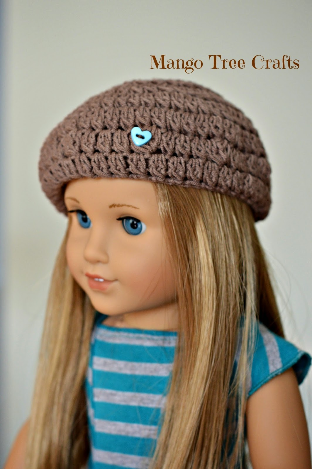 Crochet Hat Pattern American Girl Doll : Mango Tree Crafts: Crochet Beret Hat Pattern for 18 ...
