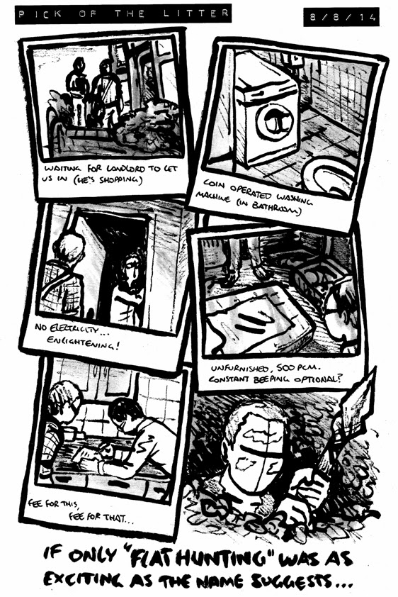 Comic about flat hunting in brighton, finding small bedsits and a coin operated washing machine opposite a toilet