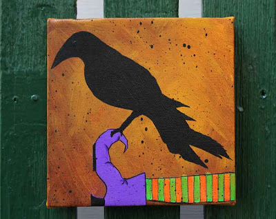 acrylic painting of a crow perched on a witch's leg