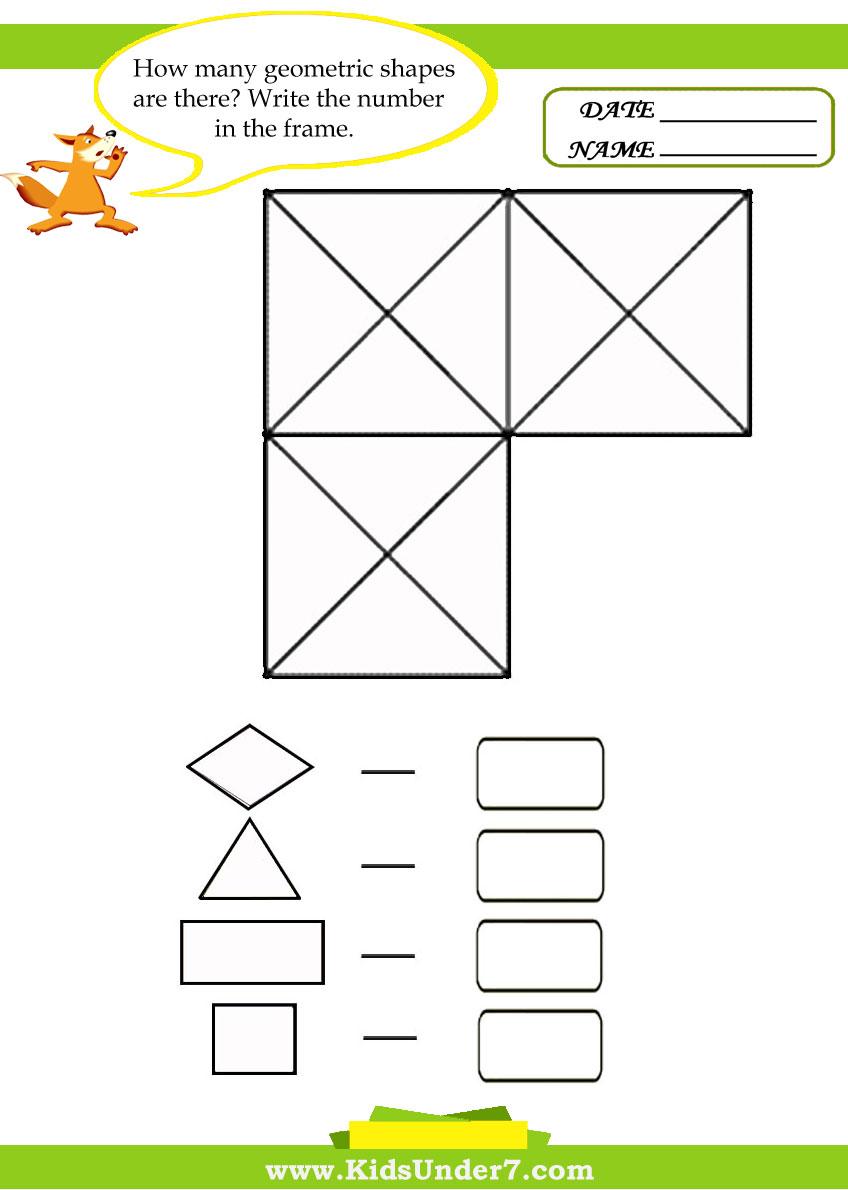 Kids Under 7: Geometry Worksheets