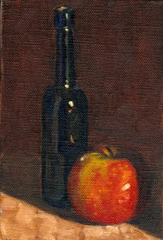 Oil painting of an antique blue castor oil bottle beside a red and green apple.