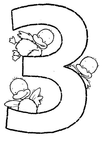 Mi colección de dibujos: ♥ Números con animalitos para pintar del ...