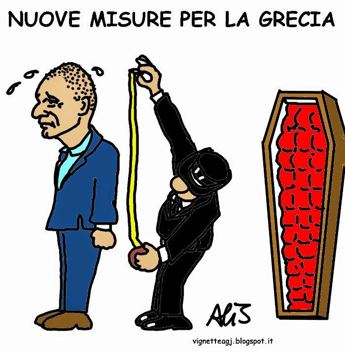 Tsipras, Varuofakis, BCE, Unione europea, Grecia, satira . vignetta