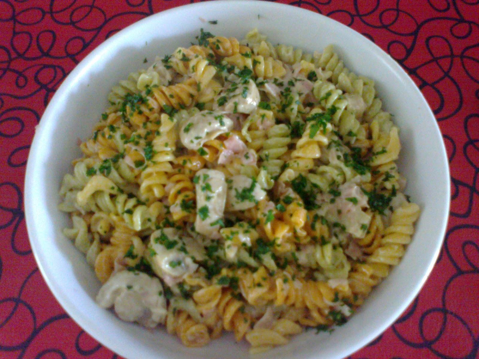 Cocinando a m manera platos sencillos pasta con crema de champignones y jam n - Platos de pasta sencillos ...