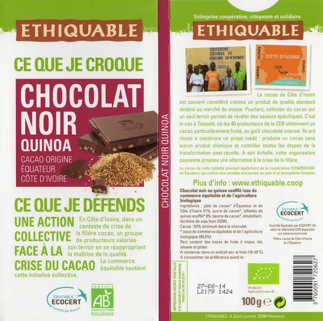 tablette de chocolat noir gourmand ethiquable equateur côte d'ivoire noir quinoa