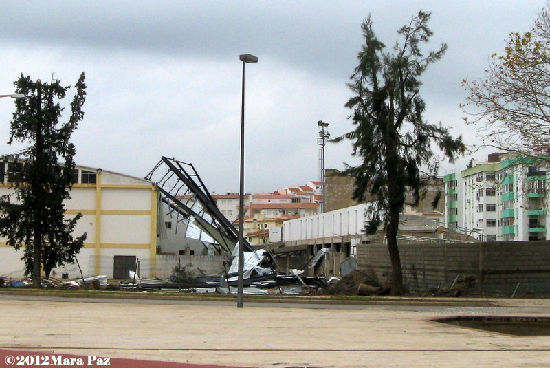 Tornado damage to Silves' football stadium