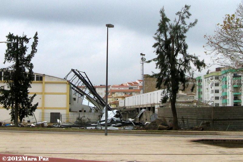 Tornado damage to Silves' football stadium