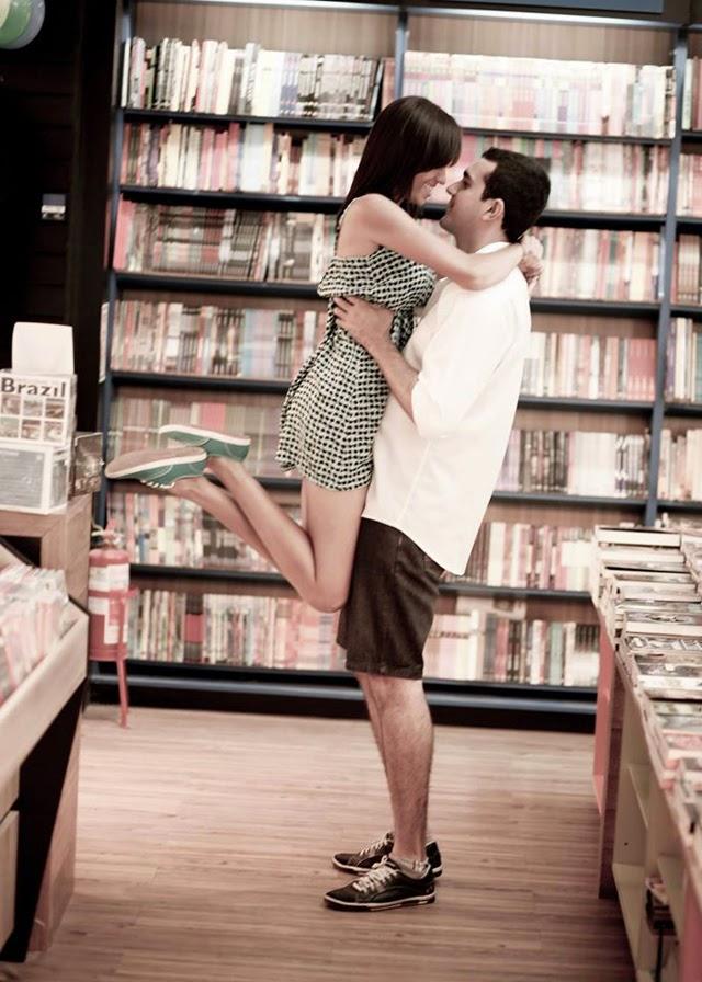 Pré-wedding na livraria