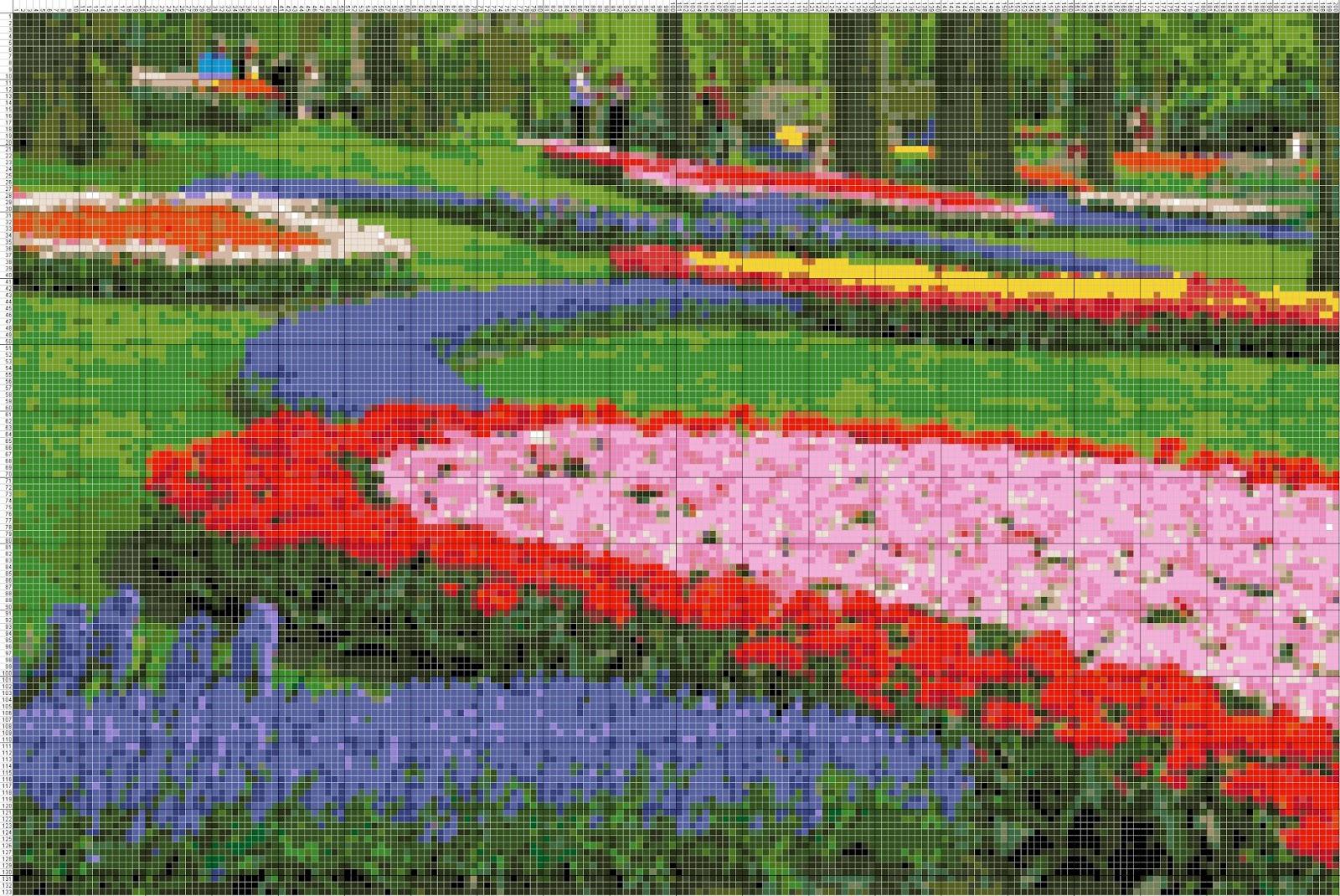 gambar pola kristik taman bunga tulip belanda motorcycle