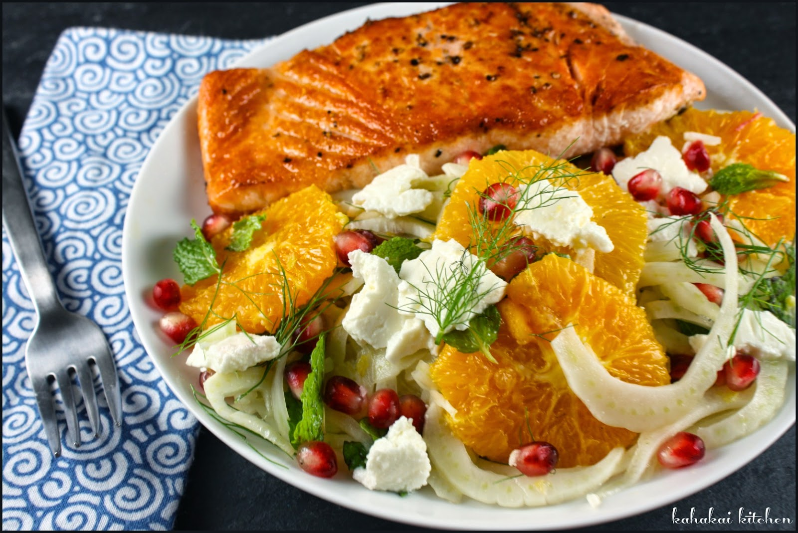 Salmon Salad With Fennel, Orange, And Mint Recipe — Dishmaps