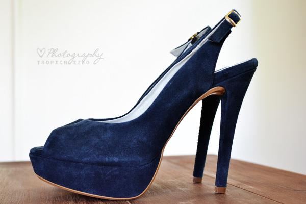 Plateau Sandalette Peeptoe Leder blau