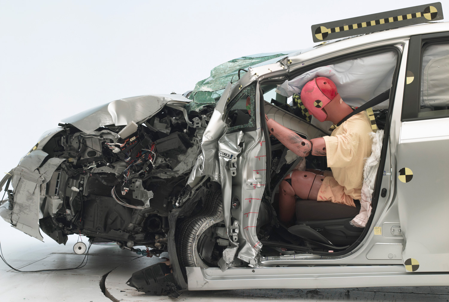 2013 Toyota Prius V After IIHS Crash Offset Test Poor Rating