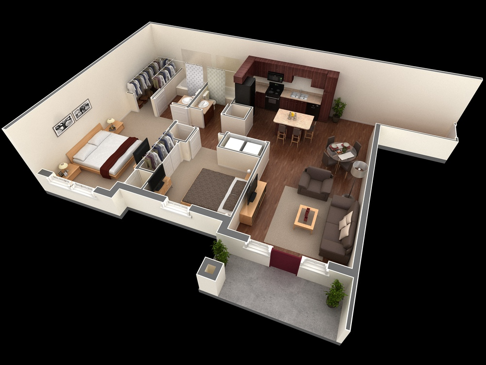 50 3D FLOOR PLANS, LAY-OUT DESIGNS FOR 2 BEDROOM HOUSE OR APARTMENT