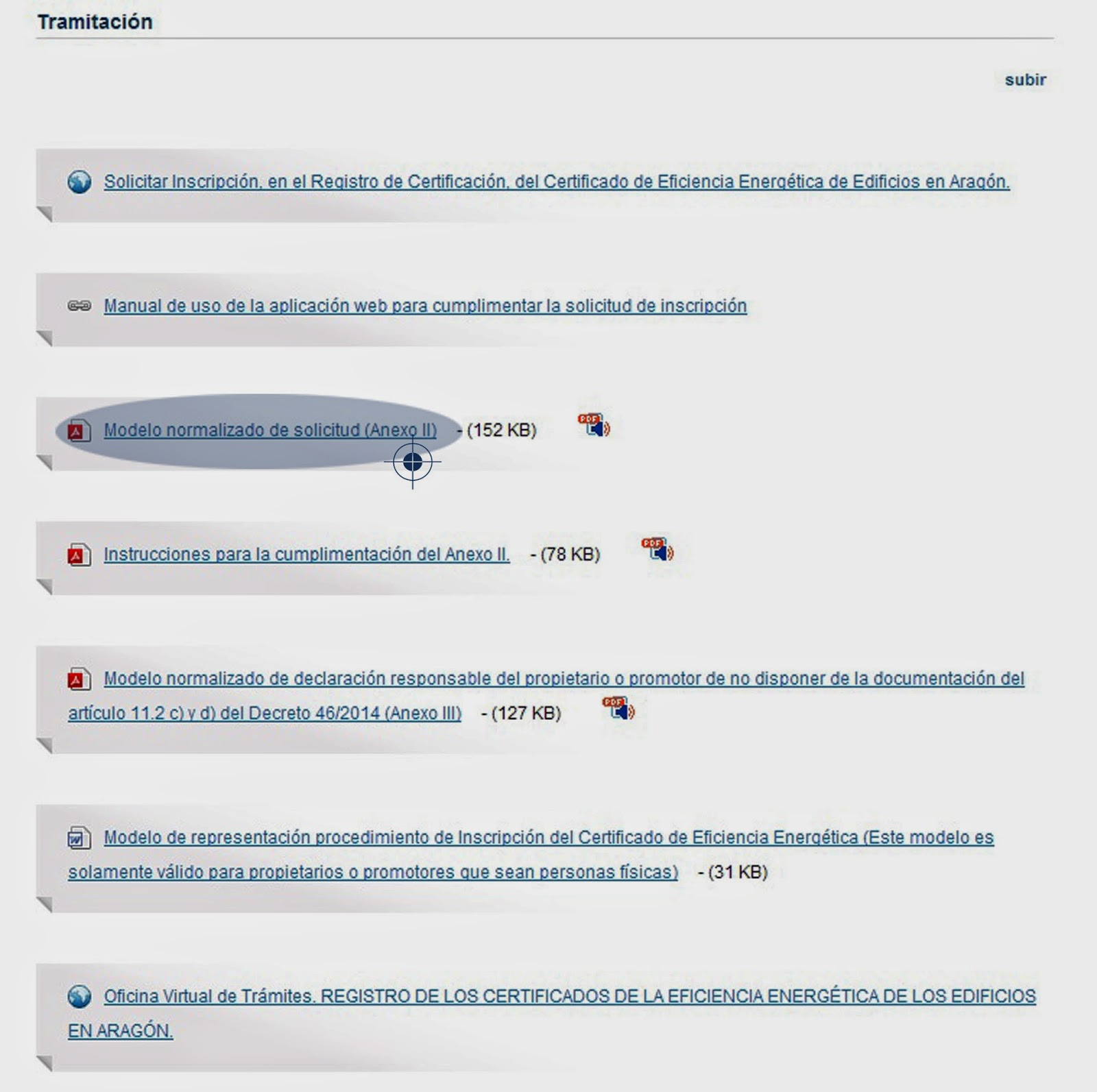 Registro certificado energetico Aragón - Anexo II