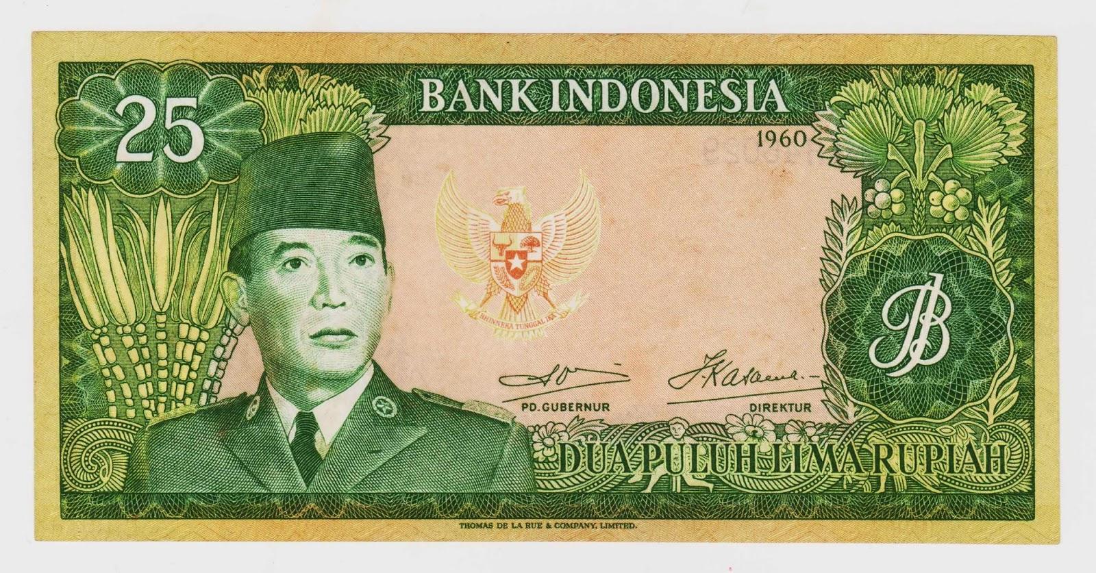 uang kuno Seri Soekarno tahun  1960 Pecahan 25 rupiah