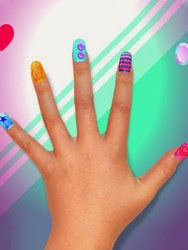 Screenshots of the Crayola Nail Party: Nail Salon for Android tablet, phone.