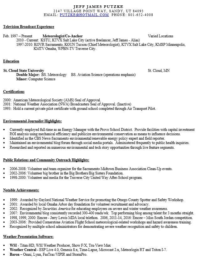 meteorologist resume - Meteorologist Resume