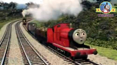 Sir Topham Hatt party surprise with Thomas and James the red engine puffing proudly up Gordons hill