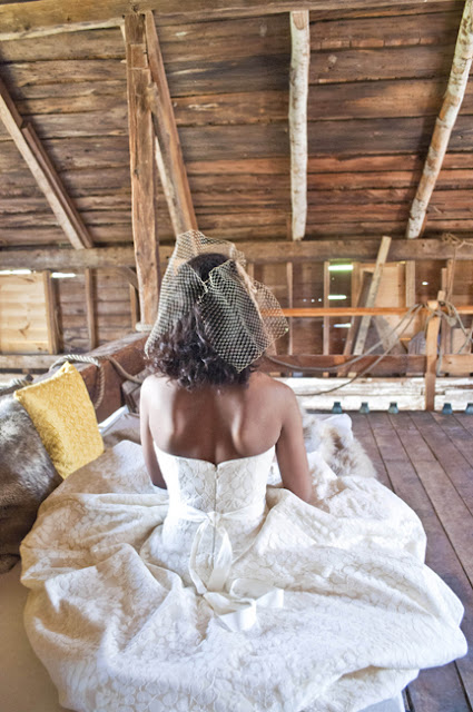 Vintage Rustic Farm Wedding Catskills shot by fine art wedding photographer Angela Cappetta back of wedding dress in the barn hay loft