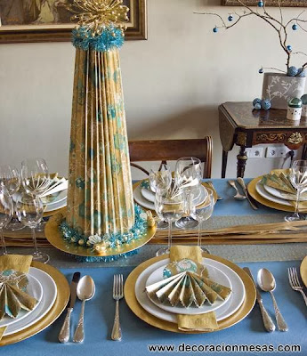 decoracion mesa navidad arbol papel centro mesa