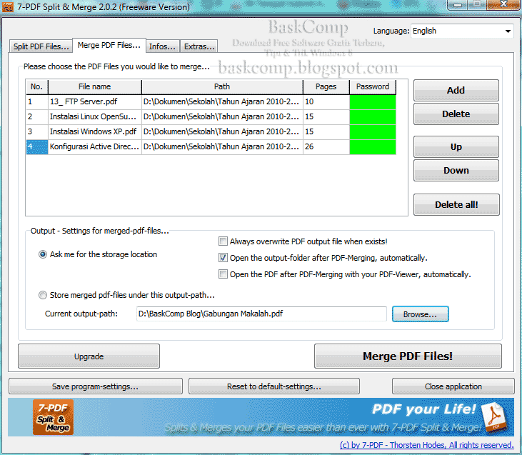 Jendela Merge PDF Files... pada software 7-PDF Split & Merge Portable