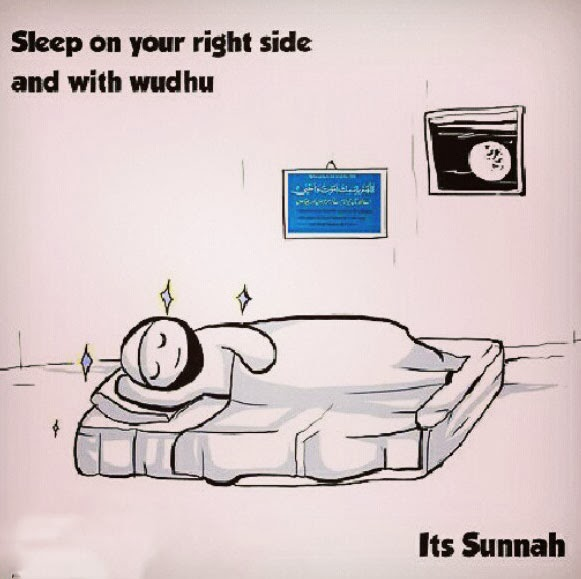 Sleep on your right hand side and with wudhu ─ Its Sunnah