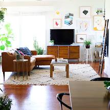 Boho Mid Century Living Room Decor
