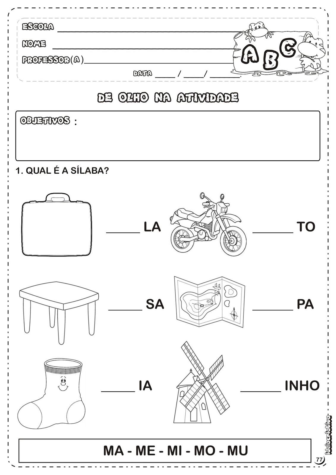Populares Atividade Letra M Sílabas | Ideia Criativa - Gi Barbosa Educação  SW58