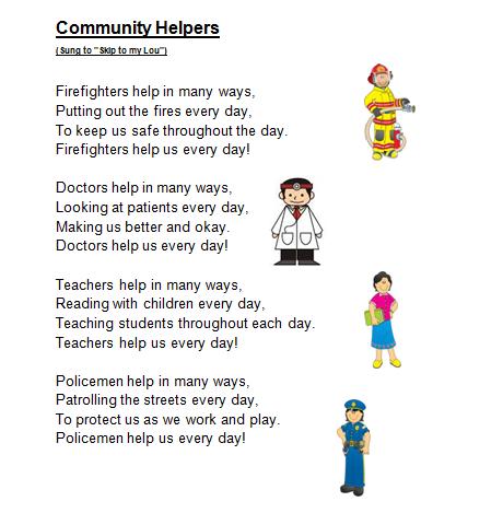 Spelling Poem 26 Community Helpers on Worksheets For Kindergarten Drawing