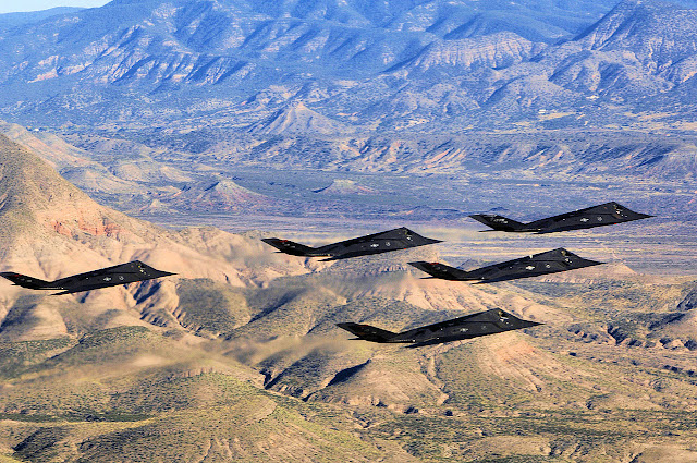 five F-117 Nighthawk formation