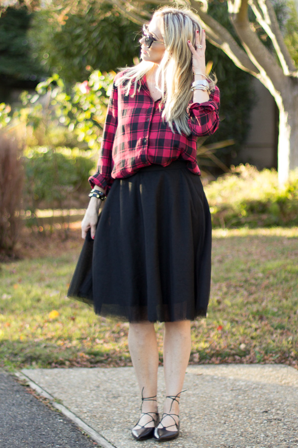 red black buffalo check top black tulle skirt