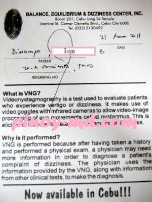 I need Videonystagmography (VNG) Test