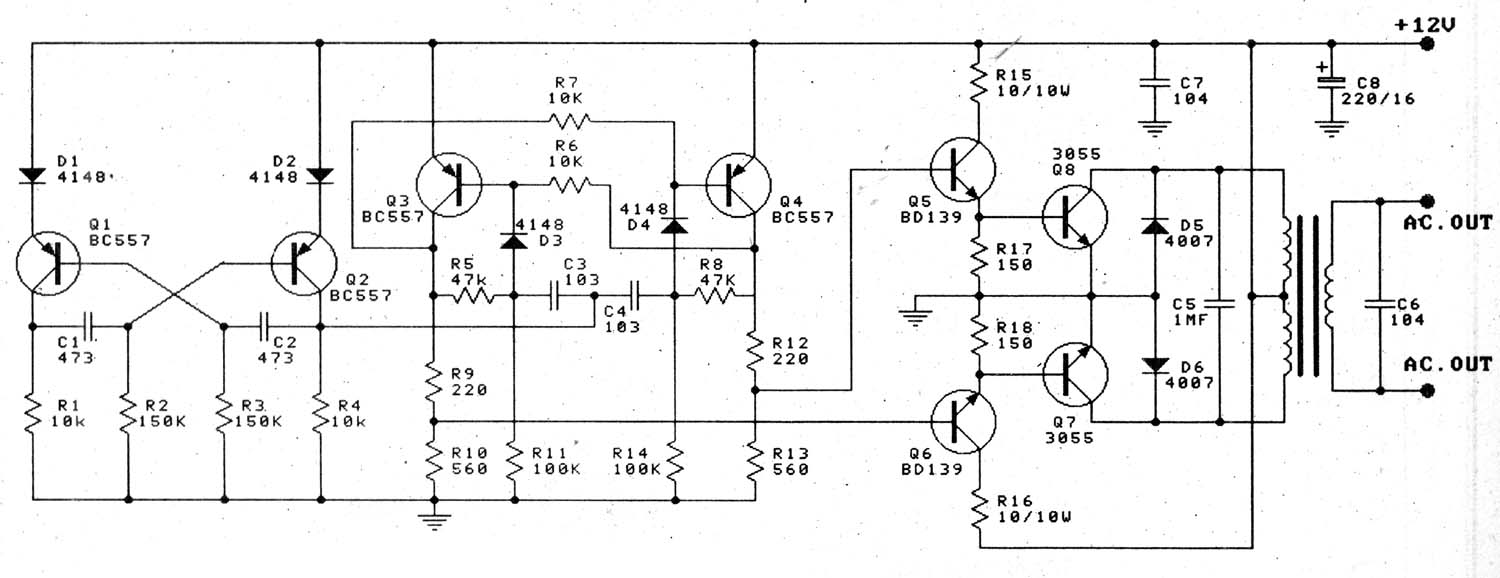 super circuit diagram  12v to 220v 100w transistor
