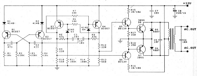 Simple 12V to 220V 100W Transistor Inverter  Diagram