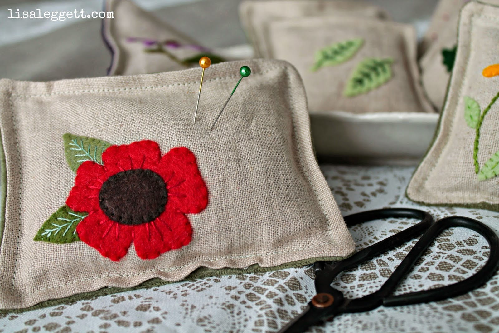 Red Poppy on Linen Pincushion