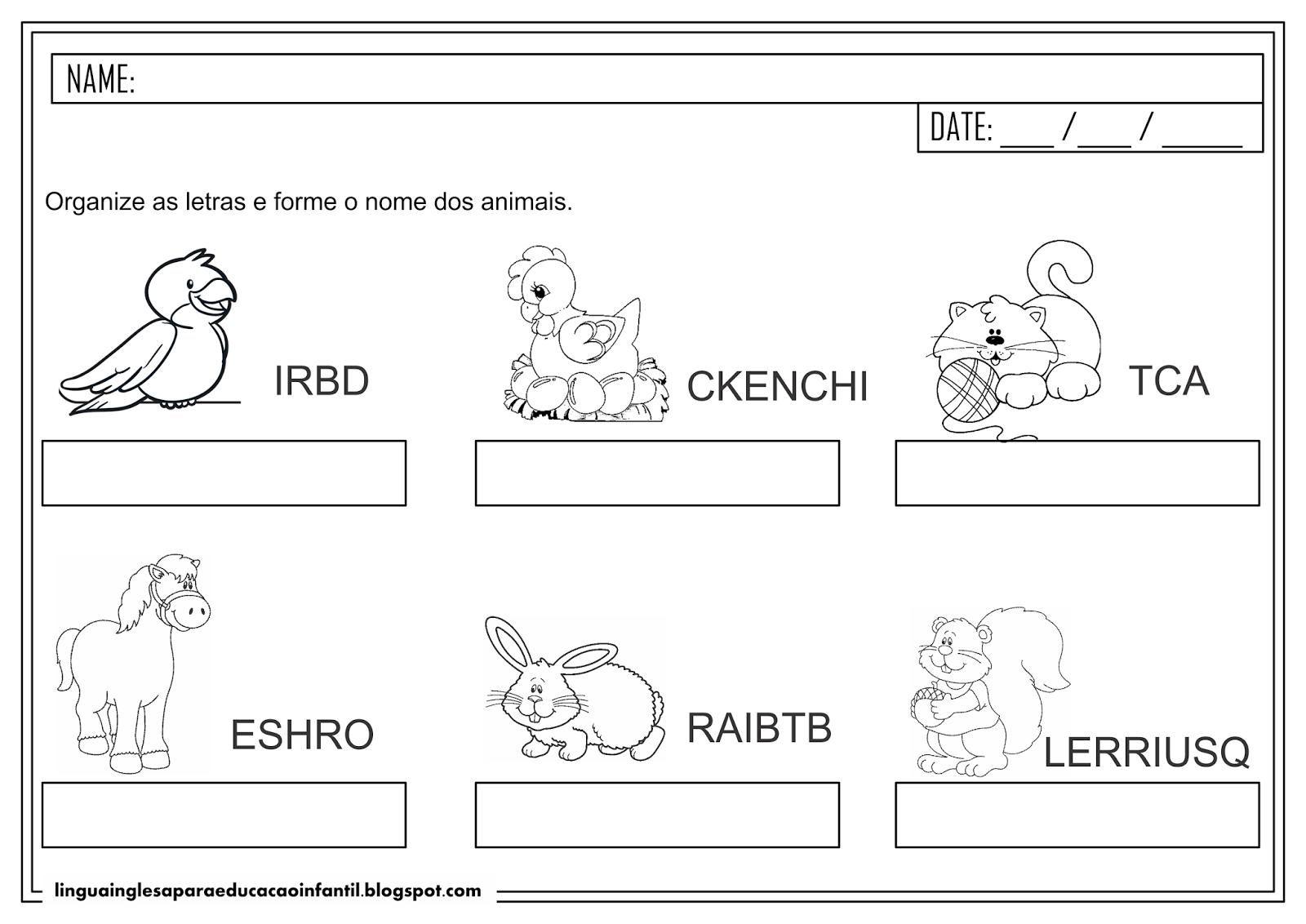 Atividade de escrita com animais em inglês para Educação Infantil