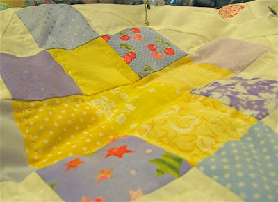 Periwinkle and Yellow Granny Block