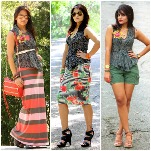 Three Ways To Wear Peplum Top, Tanvii.com